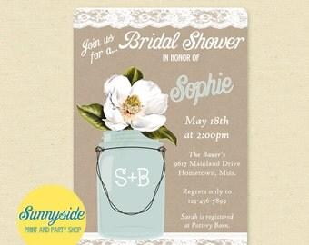 Magnolia Invitation // Bridal Shower Invite // Burlap and Lace with Mason Jar, Southern wedding invitations