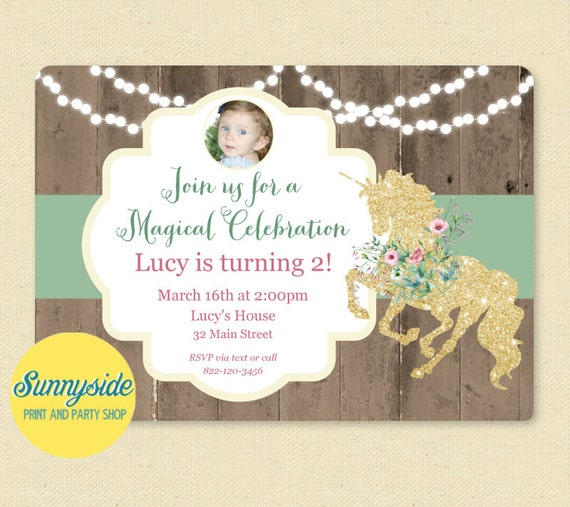 Unicorn birthday party invitation girls party invite with unicorn il570xn filmwisefo
