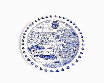 Vintage Blue and White China Vernon Kilns Nautical Map Cape Cod Massachusetts State Collector Plate