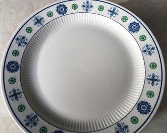 Vintage Dinner Plates Amcrest Potomac American Heritage Ironstone Blue & Green Shapes - #5430