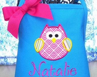Child Apron with Owl Applique and Name