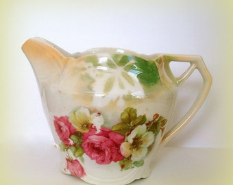 Iridescent Floral Creamer Vintage Heavier Porcelain Construction Pink White Roses Pattern Holds 10 Ounces