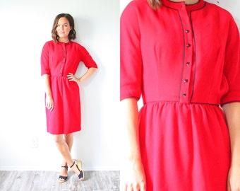 """Vintage red mod """"LANZ original dress // Red long sleeve modest dress // heart button dress // 60's Small dress // christmas dress // classic"""