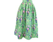 Floral Green and Pink Gathered Midi Skirt Size  Small 4-6 Ready to Ship Vintage style