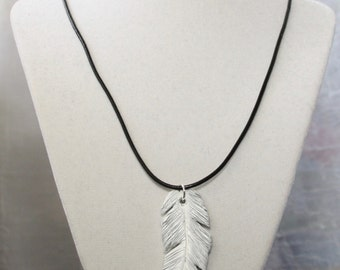 Feather Necklace, White and Silver Clay Feather Necklace