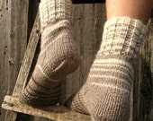 Wool Socks EU size 39-41 - Hand Knitted Striped Socks - 100% Natural Unyed Wool - Winter Autumn Warm Organic Clothing - Cozy Christmas Gift