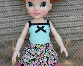 """16"""" Doll Clothes, Handmade to Fit Dolls Such as 16"""" Animator, Doll Skirt, Doll Top, Floral, Blue"""
