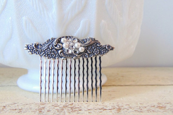 Crystal Hair Comb, Scrolling Flower, Floral Hair Comb, Blossoms, Silver Ox Brass, Silver Hair Comb, Silver Flower, Swarovski Crystals JULIET