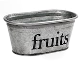 CLEARANCE! Fruits Hand Painted Galvanized Tub in Black- Size SMALL