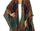 Boho Blanket Poncho, Knitted Poncho, Boho Fringed Poncho, Wrap, Southwestern, Woven, Shawl, Plus Size, Kimono, Bohemian Wrap, Kimono