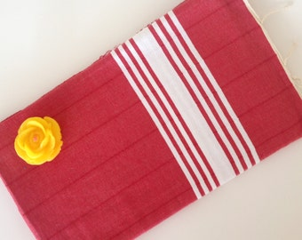 TURKISH BATH TOWEL,  Eco-friendly Peshtemal, Natural Soft Cotton, Bathroom, Beach, Spa, Yoga Towel, mothers,  Red