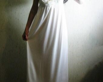 50% Off Sale - vanilla fields -organic cotton bamboo with vintage 70's lace bohemian chic hippie wedding maxi dress small/medium
