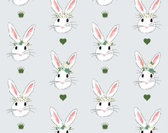 LAMINATED cotton fabric by the yard - Bunny rabbit Love Wonderland on blue - EXCLUSIVE - Approved for children's products - Easter fabric
