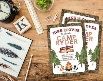 Camping and The Wild Outdoors Wildnerness Birthday Party Invitation // Digital or Printed (FREE SHIPPING!)