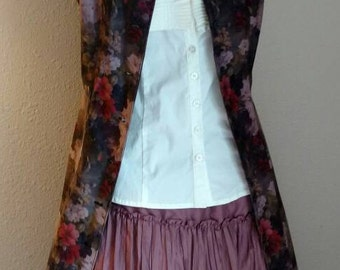 DUSTER JACKET DRESS, Faux Suede, 80's, Boho, Floral, Button Front, Dressy Or Casual, Soft & Luxurious!