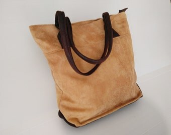 large tote, beige brown handbag,  shoulder bag with long rounded handles, elegant tote, leight weight bag, city bag, every day bag