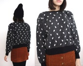 Black Polka Dot Pattern Angora Fuzzy Sweater