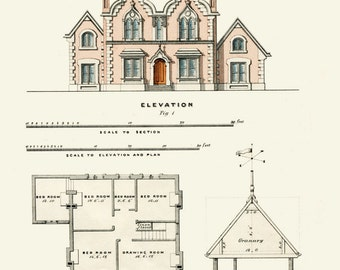 Architectural Print English House Plans 1855 Architecture Art Print Illustration Plans And Drawings Country Homes