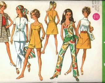 Super Vintage 1960s Simplicity 8212 Jumpsuit or Romper, Jacket and Mini A Line Wrap Skirt Sewing Pattern B38