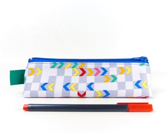 Checked Chevron Fabric Pencil Case Boys Pencil Pouch Desk Accessory Blue Grey Pencil Case
