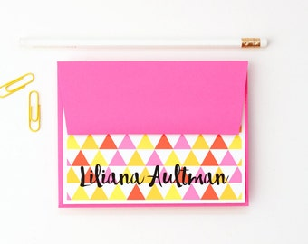 Personalized Stationery Girls Stationary Neon Pink and Yellow Geometric Pattern Colorful Tribal Print Kids Thank You Notes Custom Note Cards
