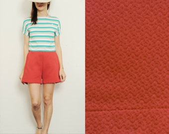 15% SALE(regular price was 46,50 dollars) Handmade Cotton High Waist [Cate shorts/coral red]