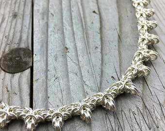 Silver Fill Barbed Byzantine Necklace - Ready To Ship