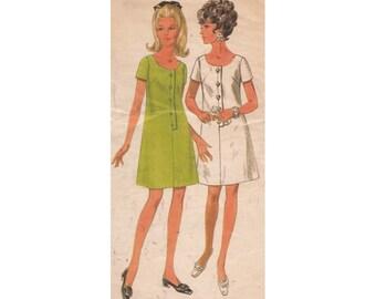 Misses Shift Dress Pattern Vintage 1960s Butterick 4874 A-Line, Front Buttons, Scoop Neck, Short Sleeves Size 14 Bust 36