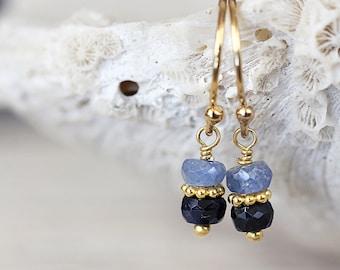 Blue Sapphire Earrings - September Birthstone Earrings - Gift For Her, Mom, Wife - Sapphire Jewelry