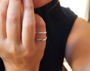 Minimalist Ring - Sterling Silver Double Band Ring - Cage Ring - Handmade to Your Size