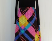 70's Full Length Maternity Dress Neon Plaid Quilted Maxi Skirt M
