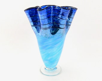 Hand Blown Art Glass Vase in Blue