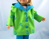 American Girl sized Doll Clothes - Jacket and Pants  in Green and Turquoise - 18 Inch Doll Clothes
