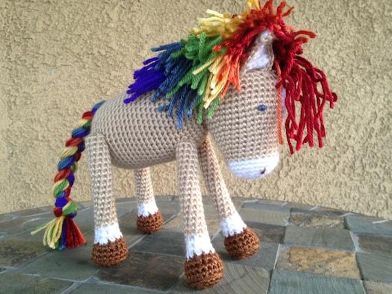 Crochet Baby Horse Rainbow mane and tail vegan plush toy