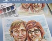 "5"" x 7"" and Smaller Custom Watercolor Portrait, Couple's Portrait, Girlfriend and Boyfriend Portrait, Family portrait"