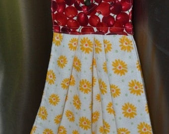 Tea Towel Decorative Cherry Sunflower Holiday Hanging Dish Towel Kitchen Cloth Drying Towel Oven DoorTowel Cotton Towel topper Gift for Her