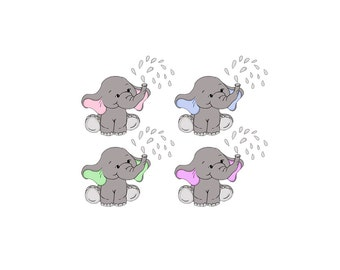 Baby Elephant Clip Art  - Nursery / Baby Shower Art  Pink or Blue Ears - Digital Clipart - PNG - JPG - Limited Commercial - Instant Download