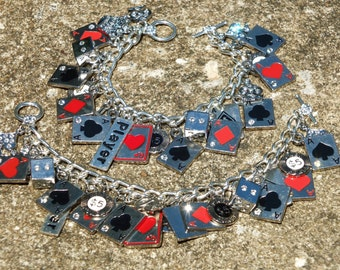 HIGH ROLLER Playing Cards, Poker, Dice tribute Charm Bracelet