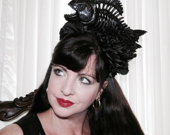 EVIL MERMAID Underwater Black Fish Skeleton Mermaid Headdress