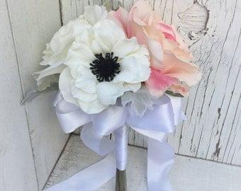Petite Silk Wedding Bouquet - Perfect for Jr. Bridesmaid or Flower Girl, or as a Toss Bouquet / Throw Away Bouquet