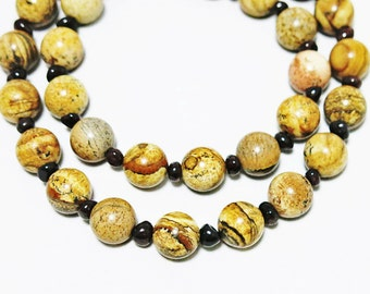 Brown Stone Necklace, Jasper Necklace, Raw Garnet Necklace, Earth Stone Necklace, Stone Jewelry, Men Necklace, Women Necklace, Marble Bead