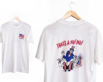 vintage t shirt / American Flag shirt / 4th of July / 1980s No Flag Burning Uncle Sam t shirt Small