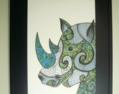 Rhinoceros drawing, wildlife art, Colorful original art, Rhino with abstract details, fantasy art