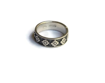 Vintage Geometric Band Ring- Sterling Silver