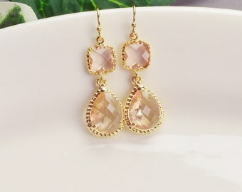 Blush Earrings - Gold Champagne Earrings - Peach Glass Drop Earrings - Blush Bridesmaid Earrings - Wedding Jewelry - Bridesmaid Jewelry