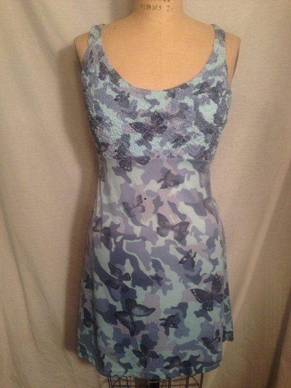 Vintage 90s Misses Blue Camo Butterfly Tank Dress by Rocket Candy Size S d56