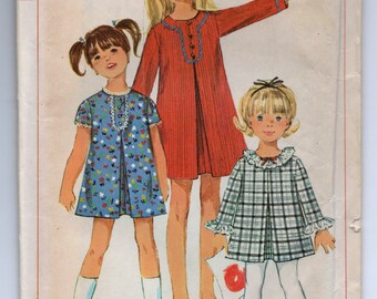 """1960's Simplicity Girl's A-Line Dress with Two Sleeve Lengths Pattern - UC/FF - Breast 28"""" - No. 7230"""