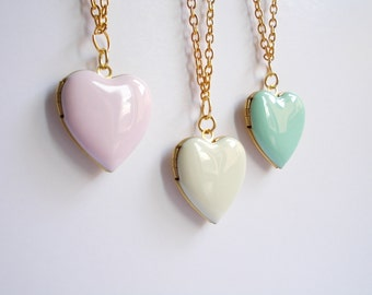 Heart locket necklace. Photo locket. Pink or White or Mint necklace. Gold tone. Secret message. Pastel enamel locket. Romantic. Tender
