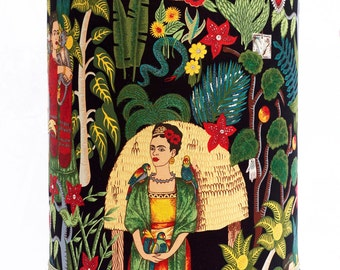 Large Tall Frida Kahlo Luxury Lampshade or Ceiling Shade with Shimmer and Swarovski Crystals