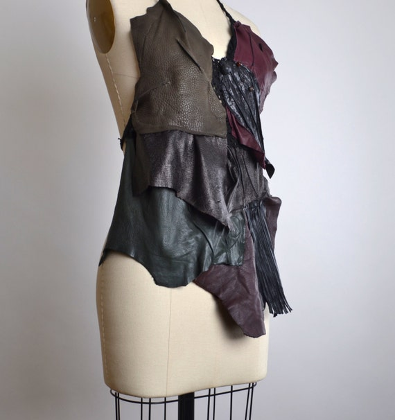 Goth Leather Top - Leather Festival Top - Festival Clothing - Halter Tops - Burning Man Clothing - Black Leather Halter Top